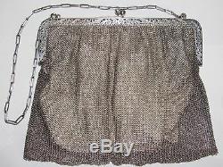 08d44 Old Handbags Evening Cott Mesh Silver Massif Chap Almônière Xixth