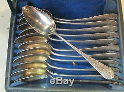 12 Old Teaspoons Sterling Silver Poincon Neck Brace 19th Nap III Ecrin