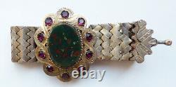 19th Century Bracelet In Solid Silver + Jasper Blood Old Jewellery Silver