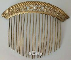 1 Old Tiara Empire Gilt Sterling Silver & Gold 1800 Pearl Tiara Comb