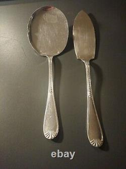 2 Old Cake Shovels And Fruit Silver Solid Punch Minerve Head