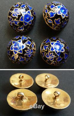 4 Button Sterling Silver Vermeil And Enamel Jewel Old Silver Enamel Button
