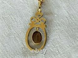 Ancien Pendentif Louis XVI Or 18k Argent Massif Quartz Fumé XIX Chain Necklace