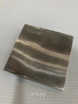 Ancien Poudrier Argent Massif Rubis Art Deco Silver Powder Compact