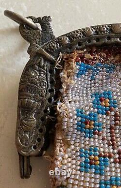 Ancien Sac Micro Perle Monture Argent Massive End 18th Debut 19th Empire