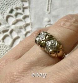 Ancienne Large Bague Tank In Vermeil/ Argent Massive Opened, Sapphire White