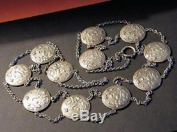 Ancient Art Belt New Sterling Silver 11 Plates Gui Decor