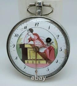 Ancient Gousset Watch Rooster Painted Enamel To Revise Ancient Old Pocket Watch Scene
