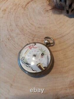 Ancient Gousset Watch With Rooster Silver Massive Dial Email Paints Polychrome Superb