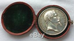 Ancient Medal Of Napoleon III Emperor 1864 By Bar In Sterling Silver