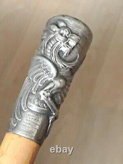 Ancient Milord Cane, Solid Silver Pommel Decorated With A Griffon, Encrypted