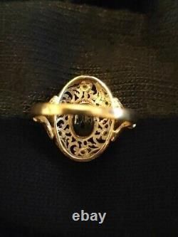 Ancient Napoleon III Ring - 18k Yellow Gold And Sapphire Silver And Diamonds