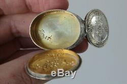 Ancient Pill Box Sterling Silver Floral Decor XIX Eme Rare Double Compartment