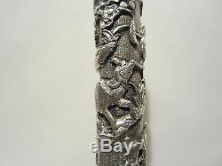 Ancient Pommel Cane Parasol Silver Decor Asian Indochina Cane Umbrella