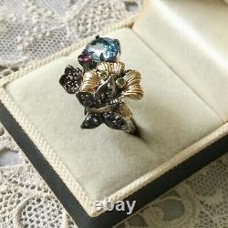Ancient Ring Butterfly Topaz Sapphire Natural Emerald Silver Gold