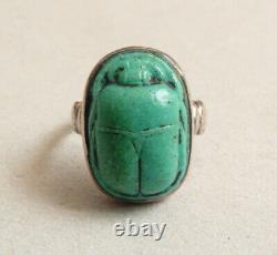 Ancient Ring Ring In Argent And Old Scarab Egypt Silver Ring