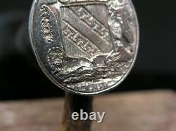 Ancient Seal Or Silver Matrix Cachet Massive Arms Blason Lions Comtale