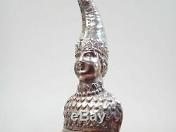 Ancient Silver Rattle In The Shape Of A Marotte