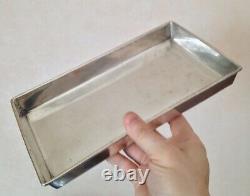 Ancient Silver Rectangular Tray Massive Xixe For Curon Gobelet 511g