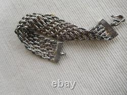 Ancient Silver Strap Magnificent Swan 19 Cms 37 Grams Maille Ribbon Tress B78