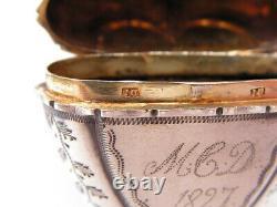 Ancient Silver Vinaigrette Vermeil Shape Heart And Ancient Crown Silver Box