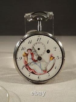 Ancient Watch A Gousset A Rooster In Silver Dial Hours And Days 1787 End Of XVIII