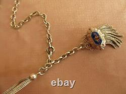 Ancient Watch Chain Rose-decorated Silver Catelaine & Blue Enamel