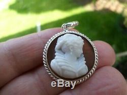 Ancient-xix / Xx-agate-profile Female-pendant-sterling Silver-poland-silver Camera