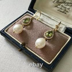 Ancillary Peridot Earrings, Topaz, Pearl, Vermeil, Silver