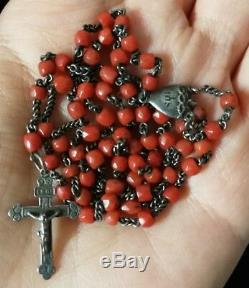 Antique 19th Century Rosary In Sterling Silver With Faceted Coral, Rosary