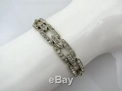 Antique Art Deco Bracelet Silver Imitation Diamonds Superb Jewelery Style