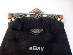 Antique Baroque Sterling Silver Coral Pearl Baroque Coral Art Deco Evening Bag