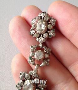 Antique Bracelet Xixth Sterling Silver White & Green Stones