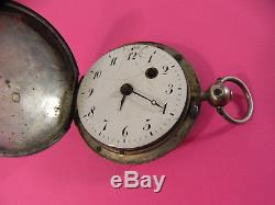 Antique Gusset Watch In Rooster Case Silver Nineteenth
