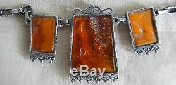Antique Necklace In 800 Sterling Silver And Amber Polish Punch