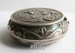 Antique Powder Box In Solid Argent Art New Silver Box