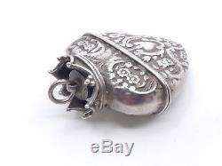 Antique Reliquary Box Pendant Heart Crowned Sterling Silver XIX (2)