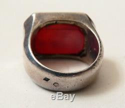 Antique Ring In Silver Solid And Intaglio Coat Of Arms Blazon Silver Ring