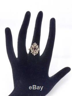 Antique Ring In Sterling Silver Amethyst And Diamonds 1900 T54