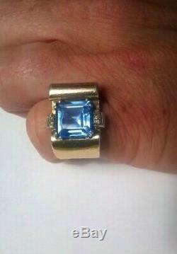 Antique Silver Art Deco Ring Silver Gold 1940 Aquamarine Vermeil