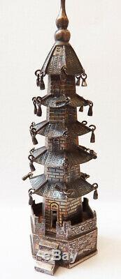 Antique Silver Miniature Pagoda China Singfat Statuette Silver