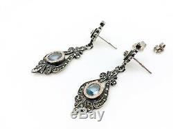 Antique Sterling Silver And Gold Stones Pendant Earrings