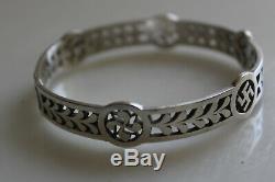 Antique Sterling Silver Bracelet Basque Swastika / Sterling Silver Bracelet