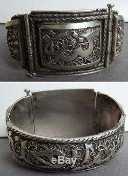 Antique Sterling Silver Bracelet Maghreb Kabylie Colonial 83gr Silver Bracelet