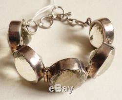 Antique Sterling Silver Bracelet Set With Citrine Silver