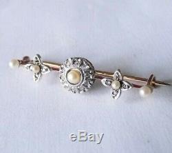 Antique XIX Solid Gold 18k Diamonds Jewel Jewel Old Solid Gold Pearl Diamonds