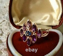 Art Deco Ancient 14k Gold Ring Pink, Silver Massif, True Amethyst Sapphire
