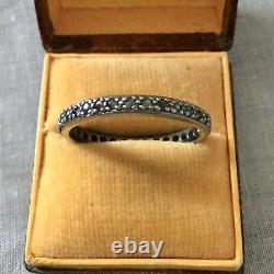 Art Deco Ancient Ring Full Tower True Sapphire Blue Silver Massive