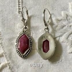 Art Deco Beautiful Earrings Old Ruby And Silver Massive Published