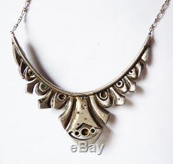 Art Deco Pendant Necklace Solid Silver + Rhinestone Necklace Antique Jewel